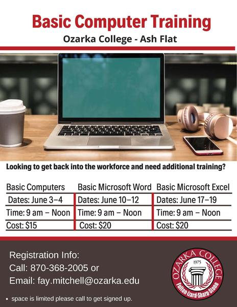 Ozarka College in Ash Flat to host Beginner Computer Skills Course
